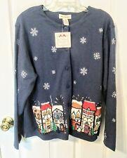 Bechamel Holiday NWT, XL, Winter  Cardigan. Blue, Button Down w/LS. .