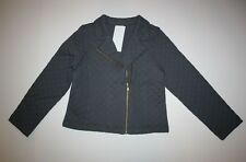 New Gymboree Outlet Gray Quilted Zip Up Biker Style Spring Jacket Size 5-6 Year