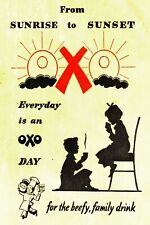 OXO Sunrise to Sunset Beef Drink Advert Vintage Retro Style Metal Sign Plaque