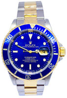 Rolex Submariner 18k Gold & Steel Mens 40mm Automatic Watch U 16613 Box Papers