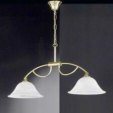 Honsel Luminaire suspendu HELLA à 2 lampes laiton verre Blanc albâtre cuisine