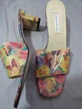 VTG Ann Marino Holographic Colorful Butterfly Floral Open Toe Sandal Slides 10M