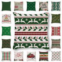 Christmas Green Pattern Xmas Cushion Cover Pillow Case Cotton Linen Home Decor