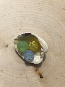 3 Tumbled Sea Glass Beautiful Blue Green Yellow Clear Stardust Marbles