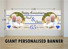 Personalised GIANT Large 65th Sapphire Wedding Happy Anniversary Banner N28