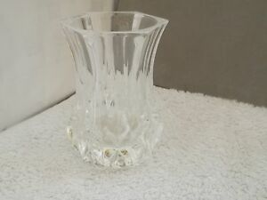 SMALL AND HEAVY CRYSTAL VASE   SIX SIDED AT RIM  DIAMONDS TO BASE   NO MAKER