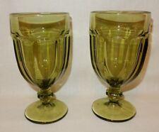 2 Libbey Gibraltar Duratuff Olive Avocado Green Water Goblet Iced Tea Glass16 oz