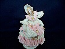 Dresden Lace lg porcelain figurine woman in bonnet lady w shawl 8.5in Germany