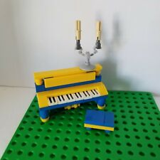 Lego Instrument Piano BLUE YELLOW with Candle Opera Bench Classic Music Upright