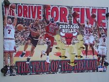 """Chicago BULLS / Orig. vintage poster 1992 / Drive for 5 / Exc. New cond.-22x34"""""""