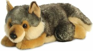 26264, MiY oni Wolf Lying, 11In, Soft Toy, Brown and Grey