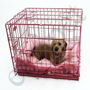 Pink Dog Cage with Faux Fur Bed Metal Training Puppy Crate Carrier S M L XL XXL