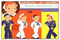 "308 Sailor RAG DOLL Pattern & WARDROBE Vintage  12"""
