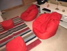 2 Red Gaming Chair Beanbags With 2 Small Foot Rest Cube Beanbags (Hardly used)