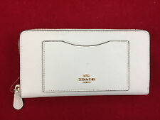 New Authentic Coach F54007 Accordion Leather Zip Around Wallet Chalk White