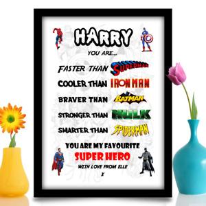 Personalised Birthday gift for Boyfriend Husband Son him hero A4 gloss print