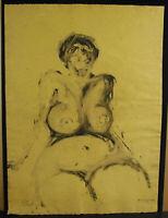 Gilbert Of Vautibault Aka Pascal Drawing Signed c1980 Naked Woman Voluptuous