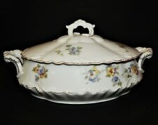 Herman Ohmne Silesia Germany China Covered Oval Serving Bowl Floral Pattern