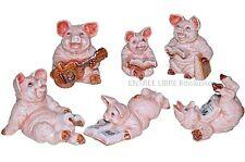Miniatures en porcelaine _ COCHONS CHANTEURS 3 à 4,5cm _ Série complète 6pcs