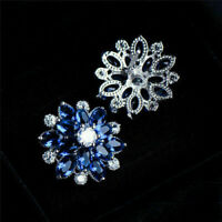 2 Ct Halo Marquise Cut Blue Sapphire & Diamond Stud Earrings 14K White Gold Over