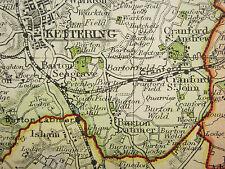 1920 COUNTY MAP of NORTHAMPTONSHIRE NORTH SHEET PETERBOROUGH KETTERING RAILWAYS