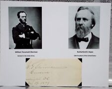 Rutherford B. Hayes & William T. Sherman AUTOGRAPH SIGNED Same Document