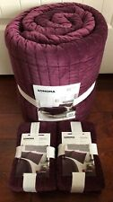 SONOMA King 3pc QUILT & SHAMS Luxury COTTON VELVET Bedding RASPBERRY NWT