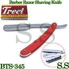 Barber Razor Straight Shaving Edge Knife Red Folding Handle W/ FREE 10 B BTS-345