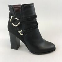 Miss Selfridges Black Faux Leather Ankle Zip Up Stacked Heeled Boots 38 UK5