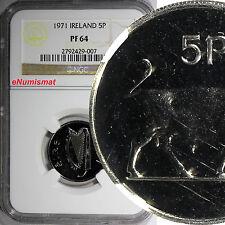 Ireland Republic Copper-Nickel PROOF 1971 5 Pence NGC PF 64 23.6mm Bull  KM# 22