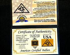ACB GOLD 1/2GRAIN 24K SOLID BULLION MINTED BAR 9999 FINE CERT 0F AUTHENTICITY $