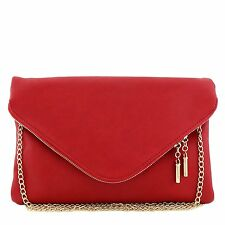 Large Envelope Clutch Bag with Chain Strap Red
