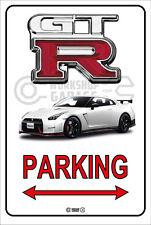 Parking Sign Metal NIssan Skyline GTR R35 - White Nismo Black Rims