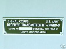 JEEP AND WAR  TRUCS,  RADIO  PLAQUE DATA PLATE
