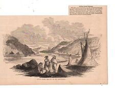 1859 Harper's Weekly Native American Print - Crow Indian Village on Mississippi