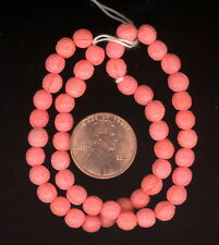50 Antique Czech Ornately Pressed CORAL Art Deco Vintage Glass Beads 6mm #72B