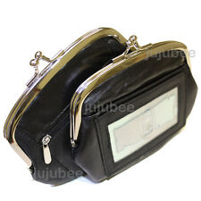 Leather Womens Wallet Metal Frame Coin Purse With Window ID