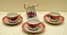 Old CHILD'S DOLL 7 PIECE TEA SET White w/Flowers Pink Band Gold Trim