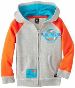 Paul Frank Kids Surf Hooded Sweatshirt Sweater Hoodie -Heather Grey / Orange