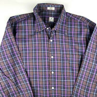 PETER MILLAR Purple Brown Plaid Button Down Casual Cotton Shirt Mens Large
