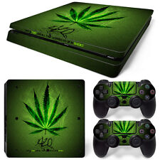 Sony PS4 Playstation 4 Slim Skin Aufkleber Schutzfolie Set - Cannabis 2 Motiv