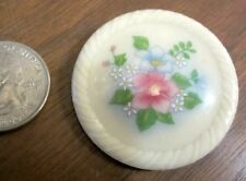 Avon Pink Blue Flower Green Leaves White Porcelain Lapel Pin Brooch Button