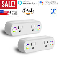 2 Pack Dual Outlet WiFi Smart Plug Socket Remote Power Switch Alexa /Google Home