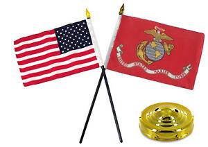 "EGA Marines w/ USA America American Flag 4""x6"" Desk Set Table Stick Gold Base"