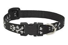 "Lupine Dog Collar 1/2"" LI'L BLING 10""-16"" Black Silver Bones Paws Adj USA Nylon"