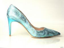 NIB $675 PRADA MIU MIU metallic blue lurex brocade pointy toe shoes 38 8 - sexy
