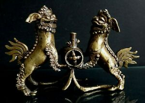 brule parfum Chinois brule encens chien fo bronze chinese incense foo dog  XIX