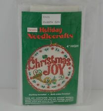 Christmas Joy 4in 2 Sided Ornament Sears Holiday Needlecrafts Kit Trumpet Vtg