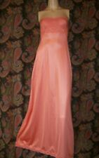 Vintage Sears Coral Strapless Bandeau Nylon Formal Length Slip Nighty Gown 32