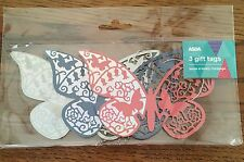 3 Butterfly Gift Tags. Die-cut - Glitter - Birthday - Anniversary